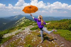 Mary Poppins in the mountains stock image