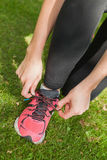 Young sporty woman tying her shoelaces Stock Image