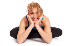 Young sporty woman in the warm-up workout. Sporty woman in the warm-up workout stock photo