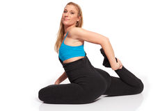 Young sporty woman in the warm-up workout. Sporty woman in the warm-up workout stock photos