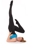 Young sporty woman in the warm-up workout. Sporty woman in the warm-up workout royalty free stock images