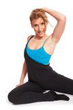 Young sporty woman in the warm-up workout. Sporty woman in the warm-up workout stock image