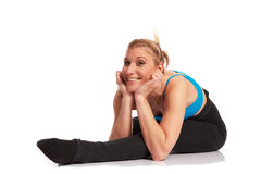 Young sporty woman in the warm-up workout. Sporty woman in the warm-up workout royalty free stock photos
