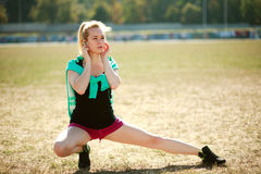 Young sporty woman workout outdoors Stock Photo