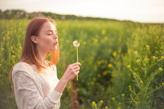 Young spring fashion woman blowing dandelion in spring garden. Springtime. Trendy girl at sunset in spring landscape background Stock Photos