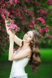 Young spring fashion woman in spring garden Springtime Summertim Royalty Free Stock Images