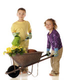 Young Spring Garden Workers Royalty Free Stock Photos