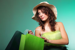 Young spring woman with shopping bag Stock Photos