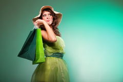 Young spring woman with shopping bag Royalty Free Stock Image
