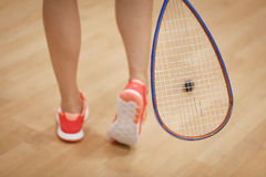 A young squash player hiting a ball in a squash court Royalty Free Stock Photo