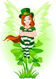 Young St. Patrick's fairy. Illustration of Charming St. Patrick's fairy sitting on clover Royalty Free Stock Photography