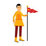 Young standard bearer holding a red banner with a royal symbol, medieval character colorful  Illustration Royalty Free Stock Photo