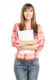 Young standing girl with notepad isolated on white background Royalty Free Stock Photos