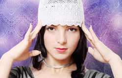 Young Staring Woman Fashion Studio Portrait Stock Images