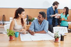 Young business people in teamwork. Young startup business people planning in teamwork Royalty Free Stock Photo
