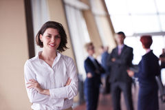 Young startup  business woman portrait, lbured people group in b Royalty Free Stock Image