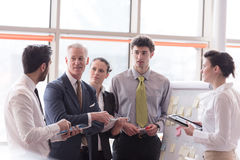 Young startup businessman making presentation to senior investio Stock Photo