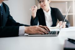 Business teamwork brainstorming discuss the investment. royalty free stock image