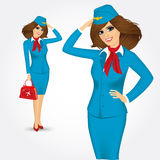 Young stewardess saluting greetings Stock Photography