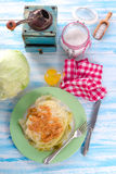 Young stewed cabbage on Irish art Stock Images
