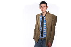 Young stilish man. Young stylish man in white studio Stock Photos