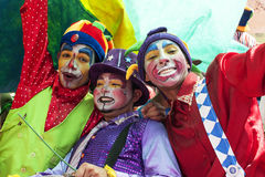 Young street clowns Stock Photos