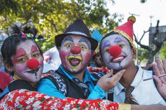 Young street clowns. Young clowns in the streets of the City on September 07, 2013 in Fortaleza, Brazil Stock Images
