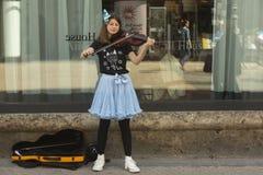 Young street musician in Zagreb, Croatia Stock Photos