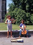 Young street musicians, Cambridge. Royalty Free Stock Images