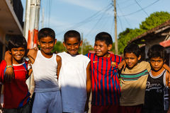Young street soccer boys pose for photo Stock Photography