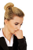Young stressed business woman. Royalty Free Stock Photo