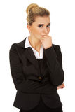 Young stressed business woman. Young blonde stressed business woman Stock Photos