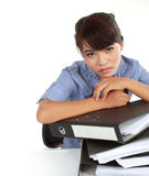 Young stressed business women Stock Photo