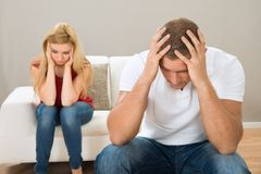 Young stressed couple Stock Photos