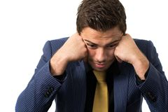 Young stressed overwhelmed businessman Royalty Free Stock Image