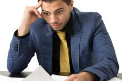 Young stressed overwhelmed businessman Royalty Free Stock Images
