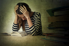 Young stressed student girl studying and preparing MBA test exam Stock Photos