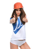 Young strong beautiful woman showing thumbs up smiling laughing Royalty Free Stock Photo