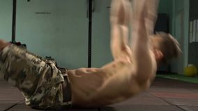 Young Strong Man Training Abdomen and Core Muscles stock video