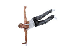 Young strong modern dancer isolated on white Stock Images