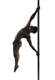 Young strong pole dance man. Isolated over white background stock photos