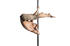 Young strong pole dance man isolated Royalty Free Stock Photo