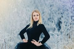 A young strong woman in black dress in winter forest. Frost on the trees stock images