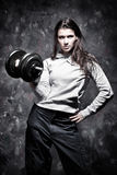 Young strong woman sport exercises Stock Photos