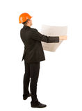 Young structural engineer holding as blueprint Stock Photography
