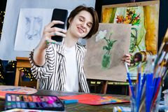 Young student artist at art workplace royalty free stock image
