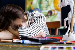 Young student artist at art workplace stock photo