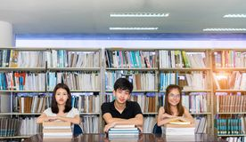 Young Student Asian Group Teenager with school folders stock image