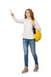 Young student with backpack isolated Royalty Free Stock Photography