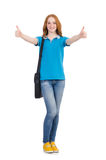 Young student with backpack isolated Stock Images